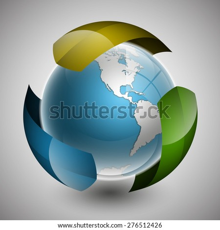Globe icon with colorful arrows and smooth shadows and white map of the continents of the world