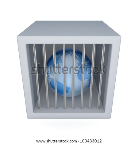 Globe in a jail.Isolated on white background.3d rendered. - stock photo