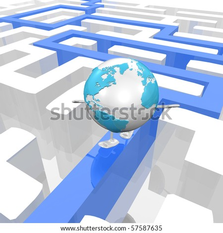 Globe in a Maze with a way out - stock photo