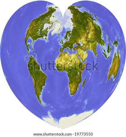 Globe in heart shape, centered on Africa. Shaded relief colored according to dominant vegetation. Shows polar and pack ice, large urban areas. Isolated on white, with clipping path. - stock photo