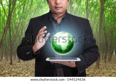 Globe in human hand Environmental protection concept - stock photo