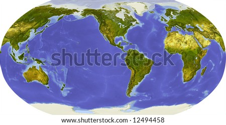 Globe in Robinson projection, centered on America. Shaded relief colored according to dominant vegetation. Shows polar and pack ice, large urban areas. Isolated on white, with clipping path. - stock photo