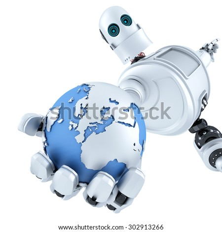 Globe in the hand of the robot. Technology concept. Isolated over white. Contains clipping path - stock photo