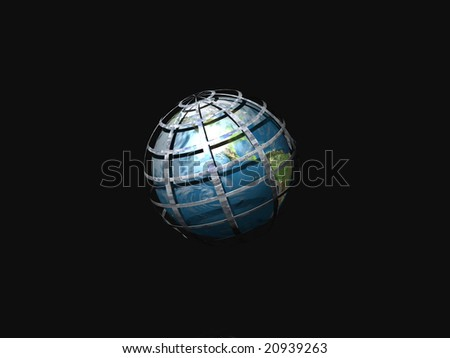 Globe in world wide web isolated on black