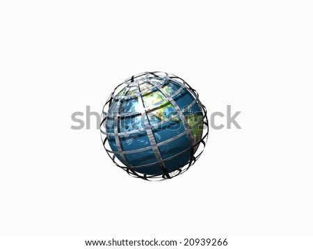 Globe in world wide web isolated on white