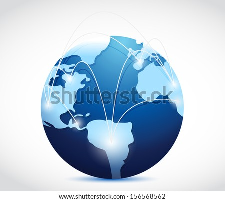 globe international connection concept illustration design over white - stock photo