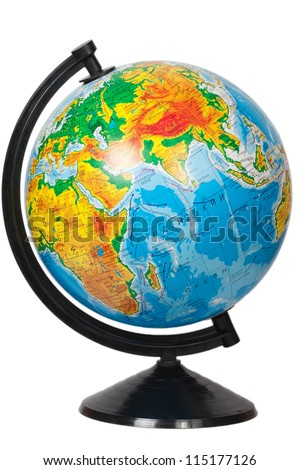 Globe isolated on white - stock photo