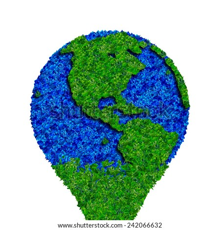 Globe made from leaves, green eco earth. - stock photo