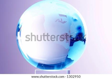 globe made of glass - stock photo
