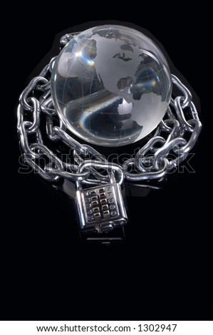 globe made of glass with chains - stock photo