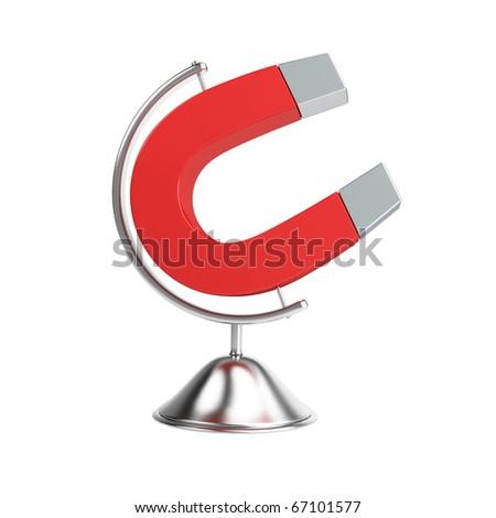 globe magnet on a white background - stock photo