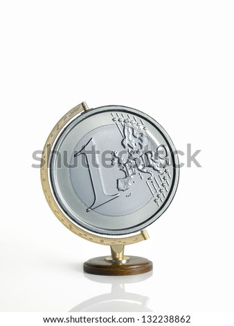 globe, map of the earth, made �¢??�¢??as a euro coins on warm backdrop - stock photo