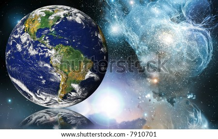 Globe  (NASA - Visible Earth) reflected into Space - stock photo