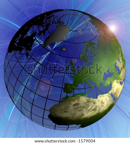 Globe Natural Color Europe Focus on Swirl Background Animated Version in Footage