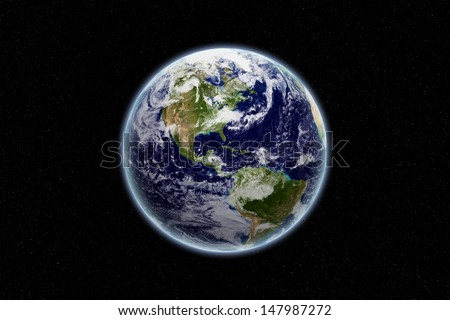 Globe - north and south america - earth texture by NASA.gov - stock photo