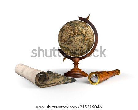 globe, old map and spyglass