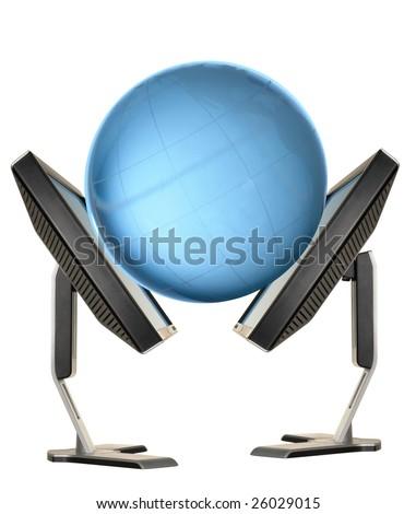 globe on a white background, - stock photo