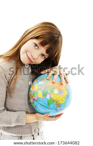 Globe on child hands. Isolated on white background  - stock photo