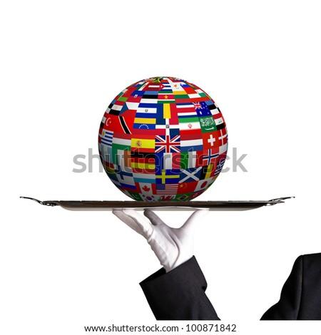 Globe on dinner tray - stock photo