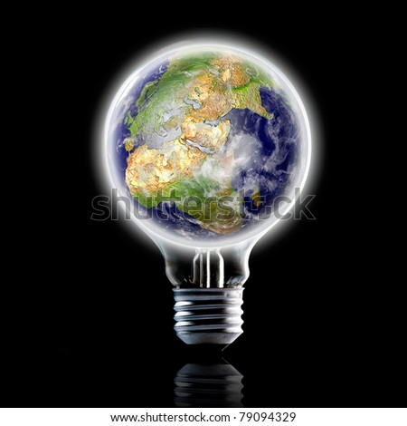globe on light bulb. Concept for energy conservation and environmental care. Data source: NASA - stock photo