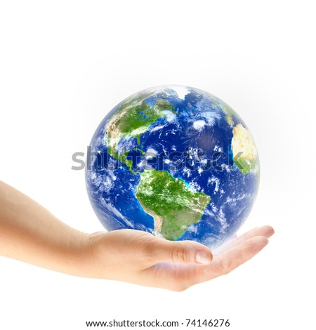 globe on the palm isolated - stock photo