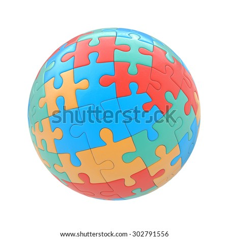 Globe or sphere from puzzles on white background