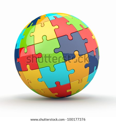 Globe or sphere from puzzles on white background. 3d - stock photo