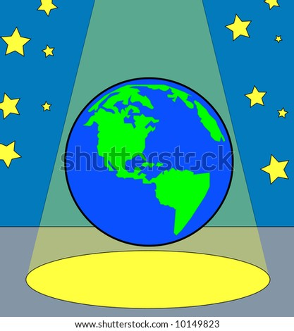 globe or world under the spotlight - all the worlds a stage