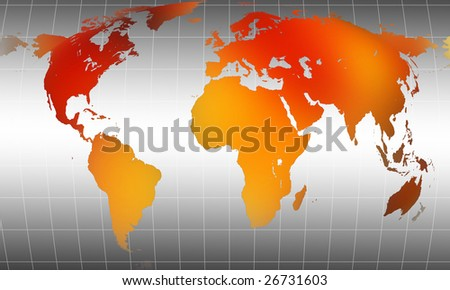 Globe orange world map with mesh on gray gradient background