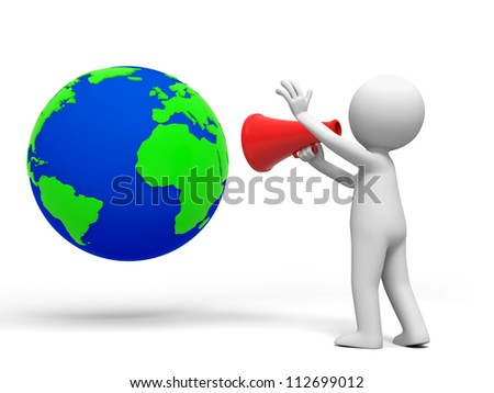 Globe/person/A person call to the globe with a speaker - stock photo