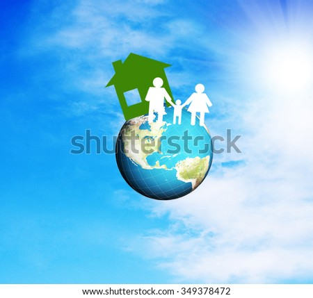 globe planet earth.paper home and paper family.family day - stock photo