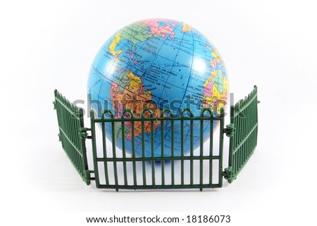 globe planet earth railing guard environment protection ecology