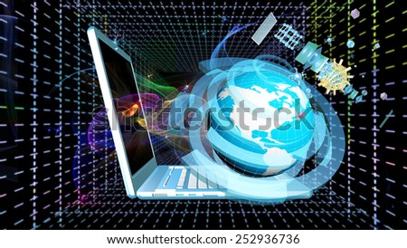 Globe Planet Earth with modern computer laptop over abstract background.Connection technologies.Intrenet concept - stock photo