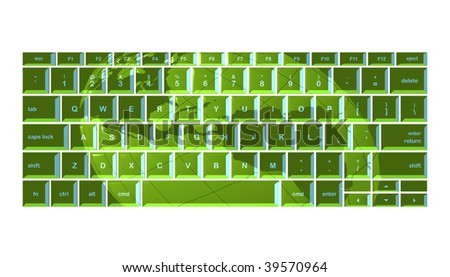 Globe projected onto green keyboard - stock photo