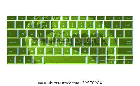 Globe projected onto green keyboard - stock photo