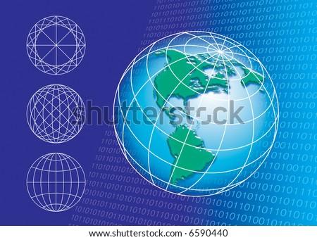 Globe shape and technology background - stock photo