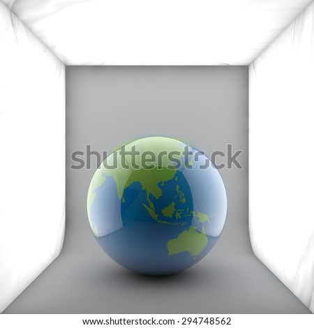 Globe showing the whole world on one side of a sphere. Shaded relief colored according to vegetation. in studio light background. - stock photo