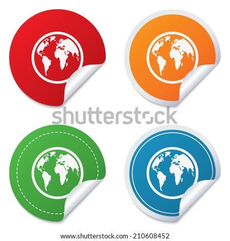 Globe sign icon. World map geography symbol. Round stickers. Circle labels with shadows. Curved corner. - stock photo