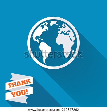 Globe sign icon. World map geography symbol. White flat icon with long shadow. Paper ribbon label with Thank you text. - stock photo