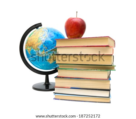 globe, stack of books and red apple close up isolated on a white background. horizontal photo. - stock photo