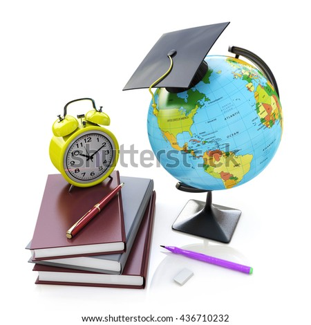 Globe, stack of school books with alarm clock and ball pens. Schoolchild and student studies accessories. Back to school concept in the design of information related to education. 3d illustration - stock photo