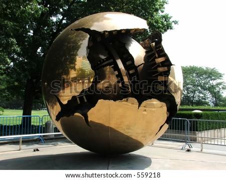 Globe Statue at UN HQ - stock photo