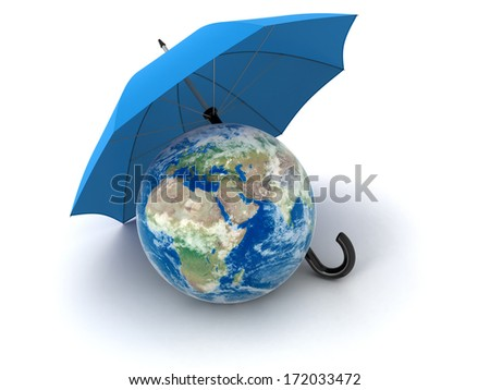 Globe under Umbrella (clipping path included) Elements of this image furnished by NASA