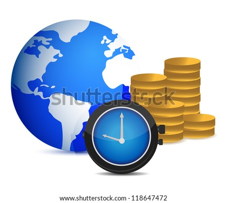 globe watch and coins illustration design over white - stock photo