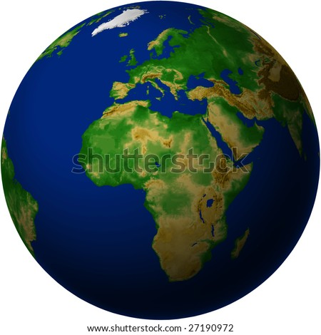 Globe with Africa View - Blue Marble