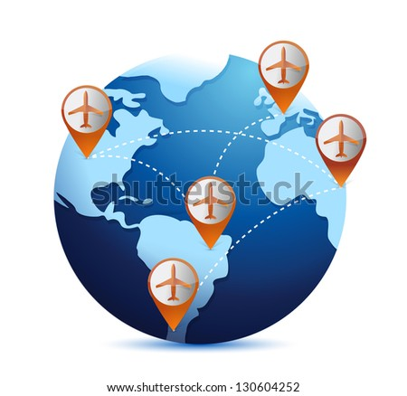 globe with airplanes and destinations illustration over white - stock photo
