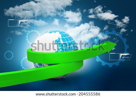 Globe with arrow - stock photo