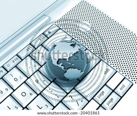 Globe with binary code on computer keyboard - stock photo