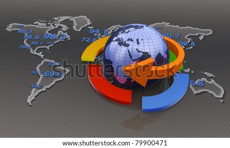Globe with business arrows - stock photo