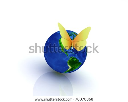 Globe with butterfly